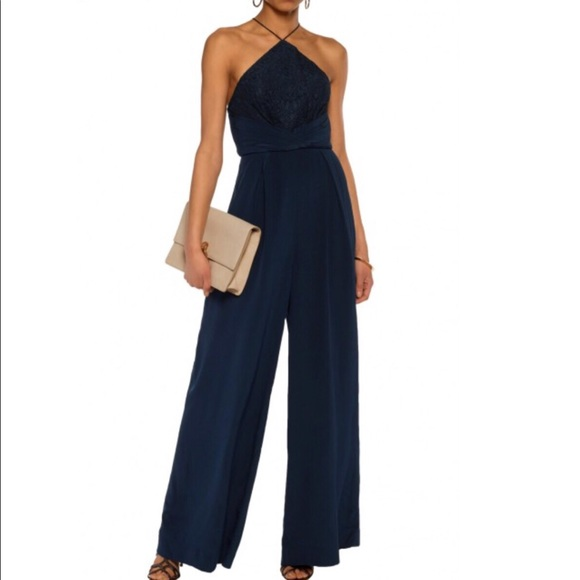 a604ec8416c ZIMMERMAN NAVY LACE PANEL SILK WIDE LEG JUMPSUIT